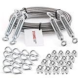 Seilwerk STANKE-Verzinkt staaldraad 200m Staalkabel met een diameter van 3mm 6x7, 4x spanschroef M5 oog-hak, 16x vingerhoed,