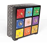 Home and Bazaar Wooden Traditional Handpainted Antique finish 9 Drawer Chest (8.5 x 4.5 x 8.5 Inch, Multicolour)