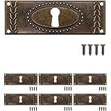 FUXXER® - 6x antieke sleutelborden, slot-rozetten, slot-beslag, afdekking voor sloten, sleutelgat, vintage messing brons jeug
