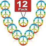 12 Pezzi Collane di Pace Arcobaleno Plastica Pendente del Segno di Pace Accessorio del Costume della Collana