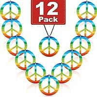 12 Stücke Regenbogen Frieden Halsketten Kunststoff Frieden Zeichen Anhänger Halskette Kostüm Zubehör