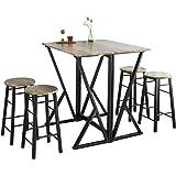 SoBuy® OGT24-N Set de 1 Table + 4 Chaises Ensemble Table de Bar bistrot + 4 tabourets Table Mange-Debout Table Haute Cuisine
