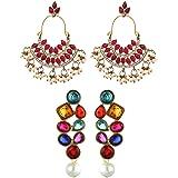 Zaveri Pearls Set Of Two Ethnic Earrings - ZPFK6020