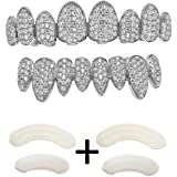 TSANLY Gold Grillz Iced OutCZ Diamond Top&Bottom SetGrill 24K Gold Plated Macro Pave Teeth Grills - Extra Molding Bars In