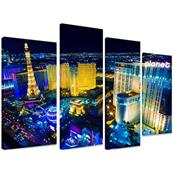 PICTURE - Multi Split Panel Canvas Artwork Art - Las Vegas Strip Nevada  America Eiffel Tower Casino Night Lights Gambling Neon - ART Depot OUTLET -  4 Panel ... 13588aa9b