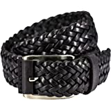 Lindenmann- hombre cinturón de cuero, cinturón trenzada de cuero cuero, ancho 35 mm, se puede acortar, 5046-010-085