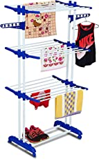 TIED RIBBONS Stainless Steel Double Pole Collapsible 3 Tier 6 Foldable Shelves Cloth Drying Stand with Wheels