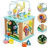 Fajiabao Cubo Actividades Bebe 5 en 1 - Cubos de Madera Juguetes Montessori Bebes 2 3 4 años Cubo de Actividad Juegos Educati