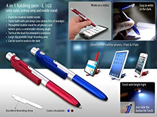 House of Gifts 4 in 1 Folding Pen with Stylus, Writing Lamp and Mobile Stand