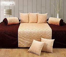 Handtex Home Velvet Diwan Set (Content: 1 Single Bed Sheet, 5 Cushion Cover, 2 Bolster, Total - 8 Pcs Set)