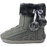 AIREE FAIREE Pantofole Donna Invernali Ciabatte Donna Invernale Ragazze Maglia Effetto Tessuto Pantofola con Pom Poms
