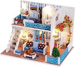 TOYMYTOY Miniature DIY Dollhouse Kit with Furniture Accessories for Children Friends