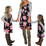 Loalirando Madre e Hija Vestido impresión Floral Vestidos Familia Manga Larga Vestido niña Princesa/Vestidos Mujer Elegantes