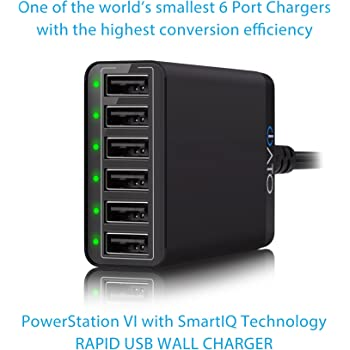 iATO Multi USB Quick Charger Compatible with Apple iPhone, iPad, iPod, Samsung Galaxy, Google, HTC, LG, Nokia, Motorola Devices. 60W 12A High Speed Fast Charge Hub, 6 USB Port Desktop Wall Charging Station.