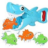 Bammax Juguetes Bañera, 5 pcs Peces Marinos Juguetes de Baño Bebe, Plastico Juego de Ducha Bebe, Juego de Pesca Piscina Niños