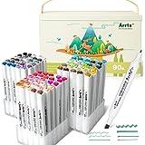 Arrtx ALP 90 Couleurs Feutre alcool, Double Pointe Marqueurs Permanents d'art avec portable boîte, pour enfant, adulte, color