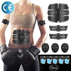 Smart Fitness-Gerät EMS Bauchmuskel Trainingsmaschine, Bauchgürtel Muskelaufbau ABS, Wireless Portable Bauch/Arm/Bein Trainer für Männer oder Frauen, von Hommie, Schwarz