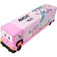 Parteet Multicolour Cartoon Printed School Bus Matal Pencil Box with Moving Tyres and Sharpner for Kids(Pink)