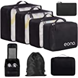 Eono by Amazon - 8 Pcs Packing Cubes for Suitcase Lightweight Luggage Packing Organizers Packing Cubes for Travel Accessories, Black