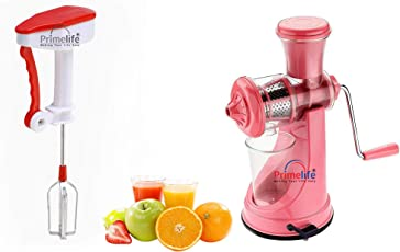 Primelife Combo of Pink Multipurpose Fruit Juicer Vegetable Juicer Plastic Hand Juice + Hand Blender Kitchenware Color May Vary (RA01)