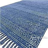 Eyes of India bunt Baumwolle Blockdruck Akzent Bereich Dhurrie Teppich Flach zu weben Hand geflochten Bohemian - Blau, 3 X 5 ft. (91 X 152 cm)