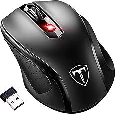 [Updated Version] VICTSING Mini Maus kabellos Wireless Mouse, 2.4G Funkmaus, 2400 DPI 6 Tasten Optische Mäuse mit USB Nano Empfänger Für PC Laptop iMac Macbook Microsoft Pro, Office Home,Schwarz
