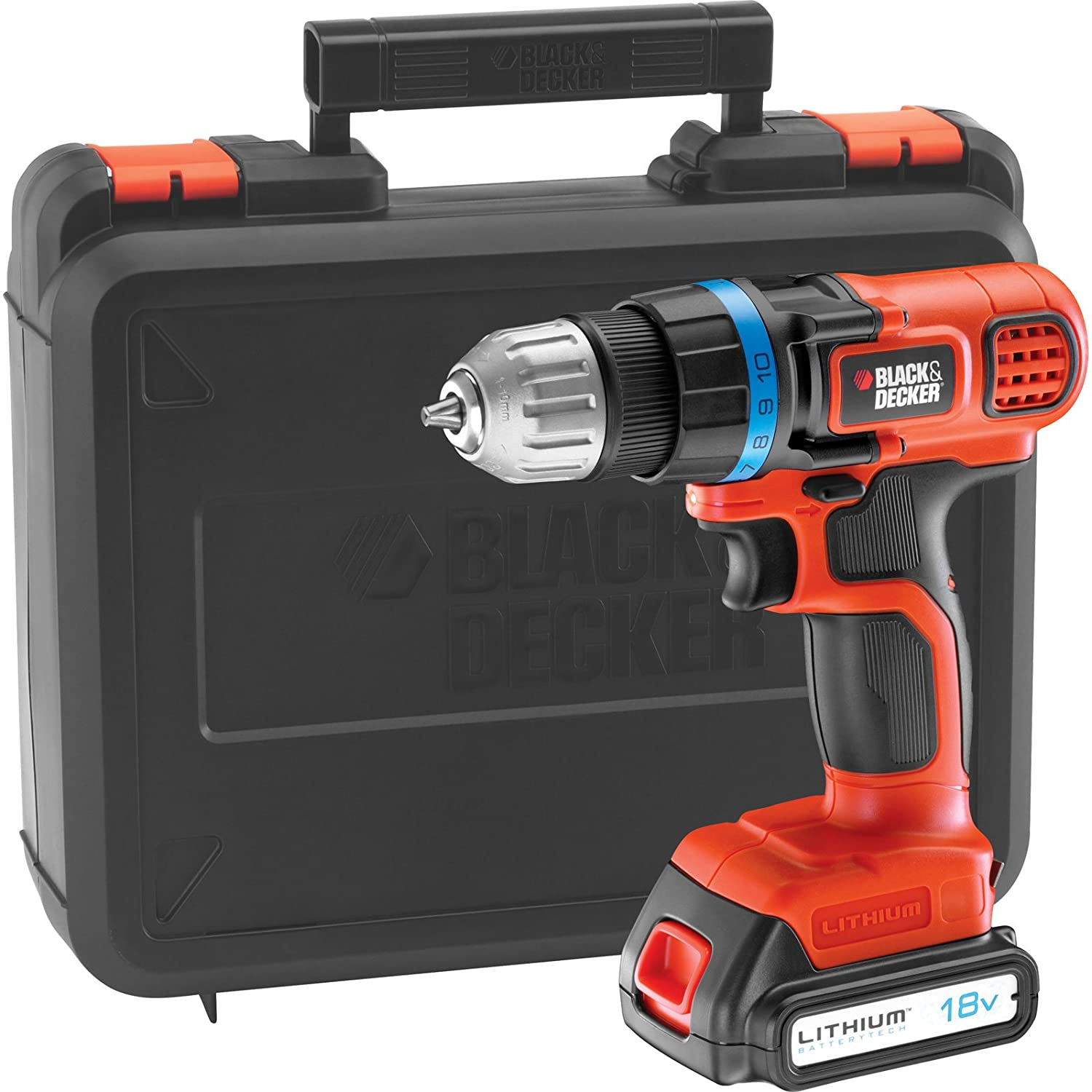 black and decker hammer drill. black \u0026 decker egbl18k 18v cordless drill driver with 1 lithium ion battery 1.5ah in kitbox: amazon.co.uk: diy tools and hammer