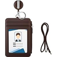 MoKo Porte-Badge en PU Cuir, Porte-Cartes d'Identité avec Poche Fermeture à Glissière, Fentes de Cartes, Badge…