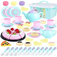 Tagitary Toys Tea Set 50Pcs Party Play Food for Kids, Party Cutting Toy Educational Kitchen Food Play Cooking Kits for Toddlers