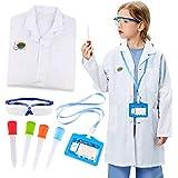 Tacobear Bata de Laboratorio Niño con Goggles Gafas Pipetas Cuentagotas Personalizado ID Card Juegos Experimentos Disfraz de