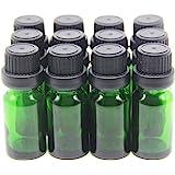 Yizhao Flacon Echantillon Huile Essentielle Vides 5ML, Fiole en Verre Vert avec [Réducteurs d'Orifice], pour Massage, Aromath