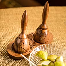 ExclusiveLane Unique Slanting Salt & Pepper Shaker with Tray in Sheesham Wood - Salt and Pepper Mixer Table Top Dinning Table Accessories