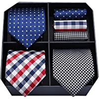 HISDERN Lot 3 PCS Classic Elegant Men's Silk Tie Set Necktie & Pocket Square - Multiple Sets