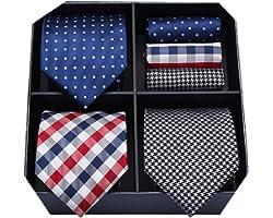 HISDERN Lot 3 PCS Classic Elegant Men's Silk Tie Set Necktie & Pocket Square - Multiple Set