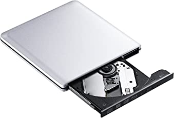 Externe Blu-Ray-Laufwerk, USB 3.0Externe Blu Ray Player Writer Tragbare BD/CD/DVD Brenner Laufwerk mit Poliert Metall Chrom für Mac, Windows 10, Laptop, PC–Silbrig