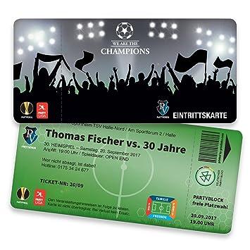 Einladungskarten Geburtstag Als Fußballticket | 40 Stück |  Geburtstagseinladungen   Karte Einladung | Einladungskarte Kindergeburtstag  (
