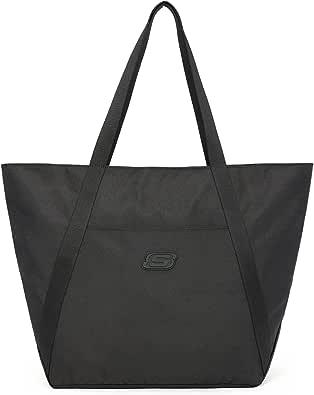 Skechers Wasserdichte Damen Handtaschen Tote Shopper Tasche für Arbeit Uni Alltag Reisen, Schwarz