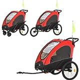 HOMCOM 3 in 1 Foldable Children Bike Trailer Kids Stroller Jogger Transport Buggy Carrier w/Suspension Rubber Tires…