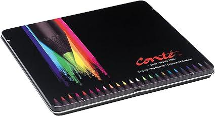 Conte 9277862 Buntstifte Set Metalletui, 24 leuchtende Farben, Strichstärke 3,2mm