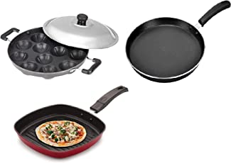 BMS Lifestyle Non-Stick Breakfast Combo 12 Cavity Appam Patra Maker, Dosa Tawa and Grill Pan Cookware Set, 3-Pieces, Black
