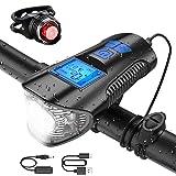 Bike Speedometer with LED Bike Light Set, USB Rechargeable Bicycle Computer with Loud Bike Bell, Waterproof Bike Odometer Fro