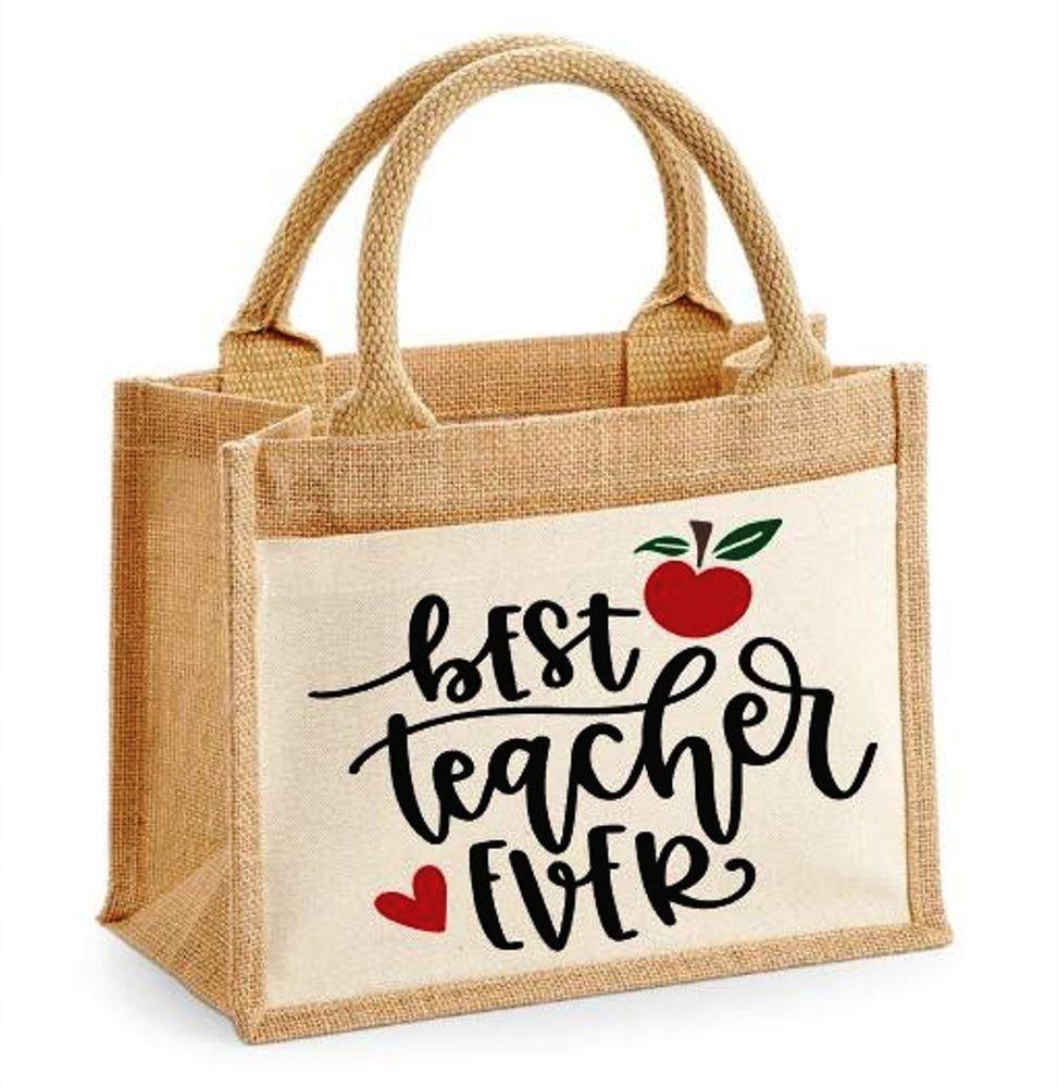Teacher gift jute bag - handmade-bags
