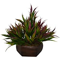Fancy Mart Artificial Bamboo Leaves Plant (Size 7.5 Inchs/ 20 cms) With Wood Hexagun Pot-1380