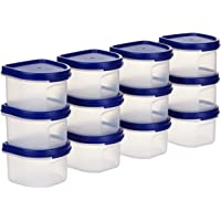 Amazon Brand - Solimo Plastic Storage Containers with Lid, Set of 12 (250ml each), Blue