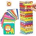 Nene Toys - Torre de Bloques Infantil de Madera 4 en 1 con Colores y Animales – Juego de Mesa Familiar Educativo para Niños N