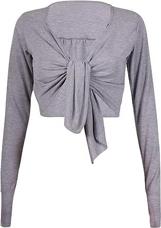 Da donna a maniche lunghe da donna anteriore aperto ritagliata con laccetti bolero Coprispalle elasticizzato cardigan top Plus taglia 8–26