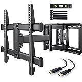 Support Mural TV Perlegear pour écrans 37-75 Pouces LED LCD Plasma et courbé Support TV Inclinable et orientable avec câble H