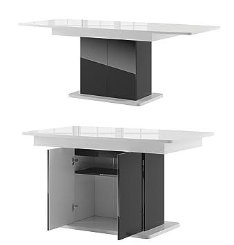 Esstisch ausziehbar schwarz  Tisch STAR Esstisch Säulentisch ausziehbar Hochganz (weiß ...