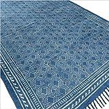 Eyes of India Indigo blau Baumwolle Block Druckfläche Akzent Dhurrie Teppich Hand geflochten flach zu weben - Blau, 4 X 6 ft. (120 X 180 cm)