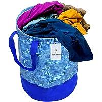 Kuber Industries Laheriya Printed Waterproof Canvas Laundry Bag, Toy Storage, Laundry Basket Organizer 45 L (Blue…
